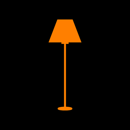 Lamp simple sign. Orange icon on black background. Old phosphor monitor. CRT. Imagens - 73034790