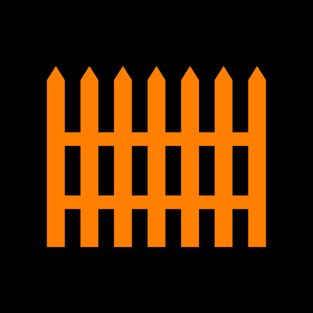 crt: Fence simple sign. Orange icon on black background. Old phosphor monitor. CRT.
