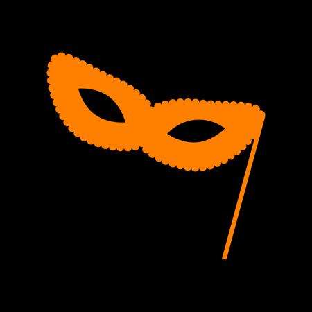 Traditional Venetian Carnival Decorative mask sign. Orange icon on black background. Old phosphor monitor. CRT.