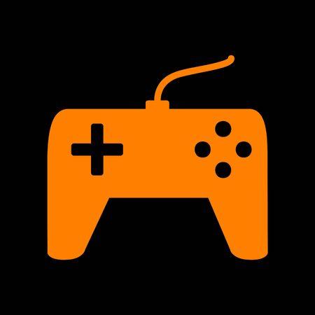 crt: Joystick simple sign. Orange icon on black background. Old phosphor monitor. CRT. Illustration