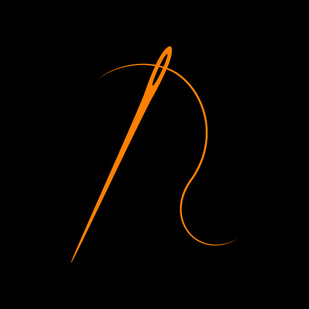 Needle with thread. Sewing needle, needle for sewing. Orange icon on black background. Old phosphor monitor. CRT.