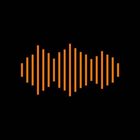 Sound waves icon. Orange icon on black background. Old phosphor monitor. CRT.