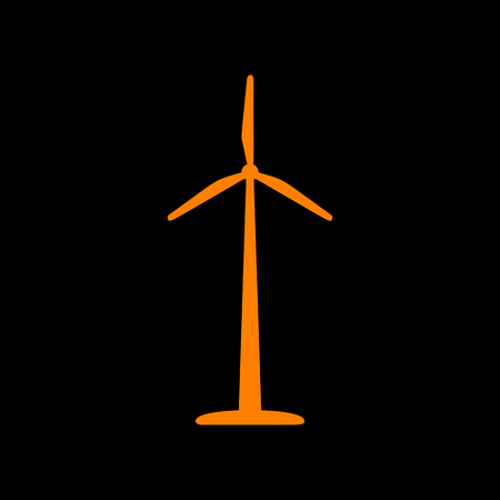 Wind turbine logo or sign. Orange icon on black background. Old phosphor monitor. CRT.