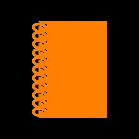 crt: Notebook simple sign. Orange icon on black background. Old phosphor monitor. CRT.