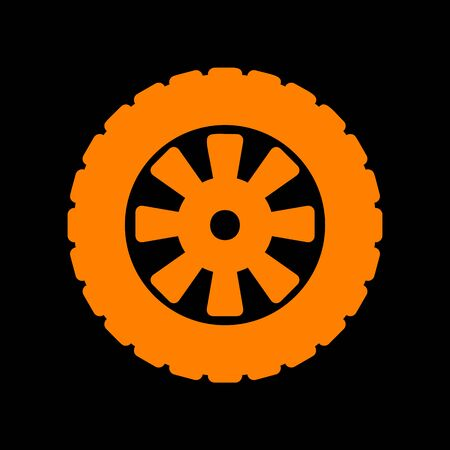 Road tire sign. Orange icon on black background. Old phosphor monitor. CRT. Ilustração