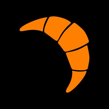 Croissant simple sign. Orange icon on black background. Old phosphor monitor. CRT.