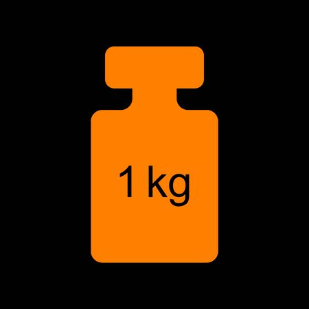 Weight simple sign. Orange icon on black background. Old phosphor monitor. CRT.