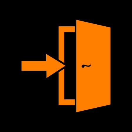 Door Exit sign. Orange icon on black background. Old phosphor monitor. CRT. Ilustração