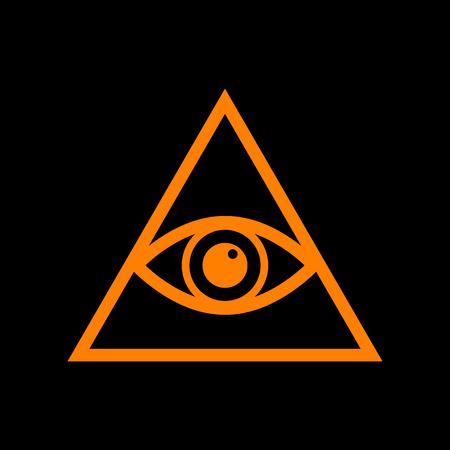 ojo de horus: All seeing eye pyramid symbol. Freemason and spiritual. Orange icon on black background. Old phosphor monitor. CRT.