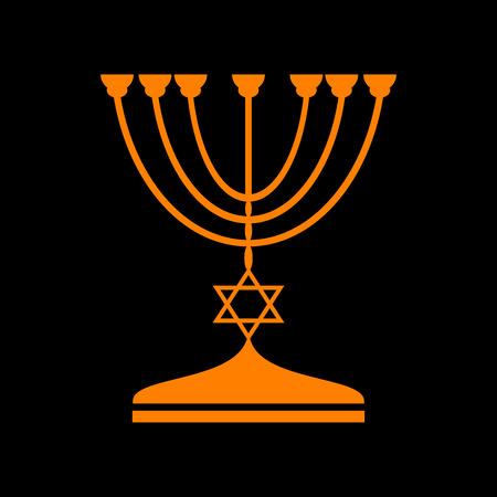 Jewish Menorah candlestick in black silhouette. Orange icon on black background. Old phosphor monitor. CRT. Imagens - 73034170