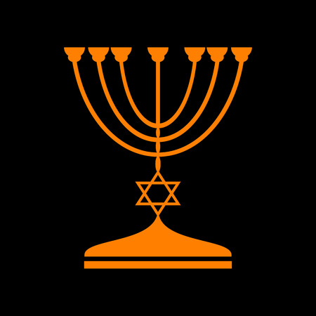 Jewish Menorah candlestick in black silhouette. Orange icon on black background. Old phosphor monitor. CRT. Illustration