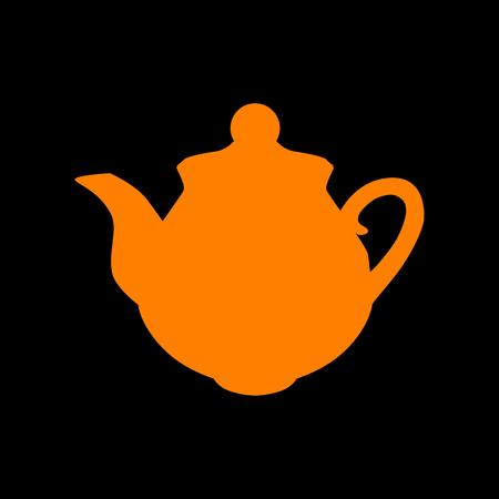 Tea maker sign. Orange icon on black background. Old phosphor monitor. CRT.