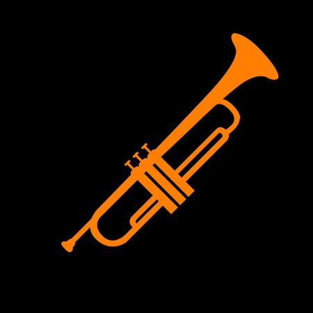crt: Musical instrument Trumpet sign. Orange icon on black background. Old phosphor monitor. CRT.