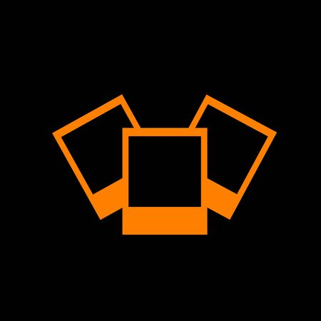 Photo sign illustration. Orange icon on black background. Old phosphor monitor. CRT.