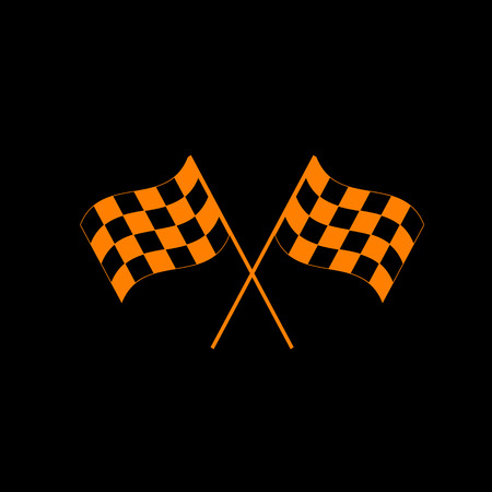 Crossed checkered flags logo waving in the wind conceptual of motor sport. Orange icon on black background. Old phosphor monitor. CRT. Illustration