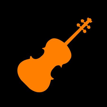 crt: Violine sign illustration. Orange icon on black background. Old phosphor monitor. CRT.