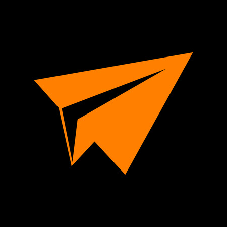 Paper airplane sign. Orange icon on black background. Old phosphor monitor. CRT. Imagens - 73035160