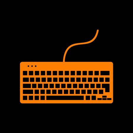 put the key: Keyboard simple sign. Orange icon on black background. Old phosphor monitor. CRT.