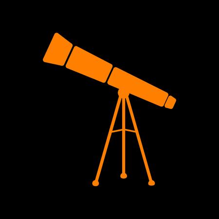 Telescope simple sign. Orange icon on black background. Old phosphor monitor. CRT.