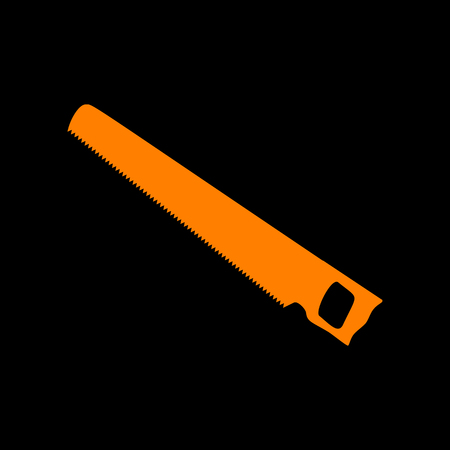 Saw simple sign. Orange icon on black background. Old phosphor monitor. CRT. Imagens - 73034162