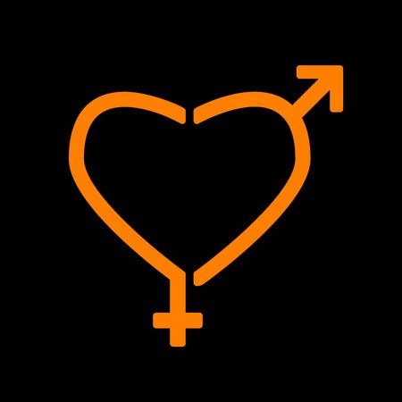 Gender signs in heart shape. Orange icon on black background. Old phosphor monitor. CRT.
