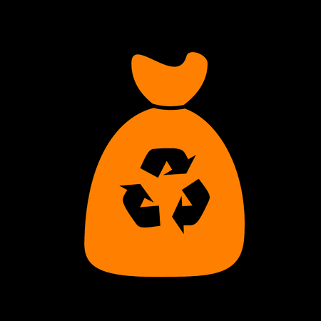 food waste: Trash bag icon. Orange icon on black background. Old phosphor monitor. CRT. Illustration