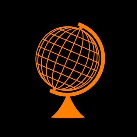 Earth Globe sign. Orange icon on black background. Old phosphor monitor. CRT. Imagens - 73034154