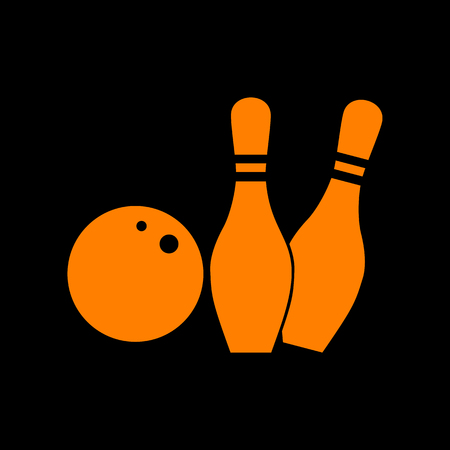 crt: Bowling sign illustration. Orange icon on black background. Old phosphor monitor. CRT. Illustration
