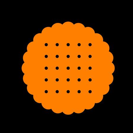 Pyramid sign illustration. Orange icon on black background. Old phosphor monitor. CRT.