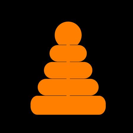 Pyramid sign illustration. Orange icon on black background. Old phosphor monitor. CRT. Imagens - 73035321