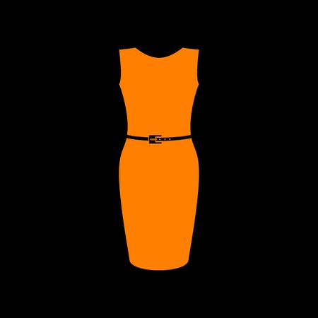 Dress sign illustration. Orange icon on black background. Old phosphor monitor. CRT. Ilustração