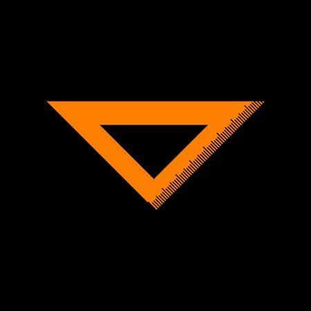 Ruler sign illustration. Orange icon on black background. Old phosphor monitor. CRT.