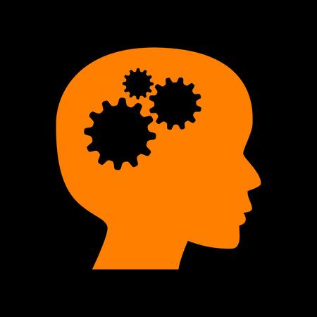 crt: Thinking head sign. Orange icon on black background. Old phosphor monitor. CRT.