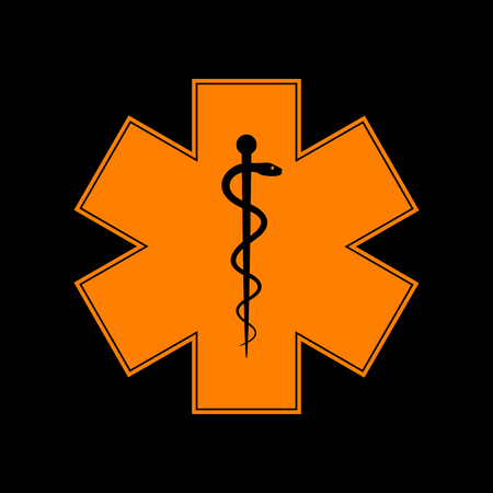 Medical symbol of the Emergency or Star of Life. Orange icon on black background. Old phosphor monitor. CRT. Imagens - 73035304