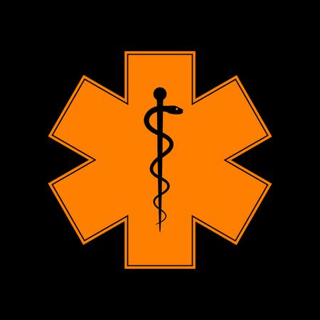 Medical symbol of the Emergency or Star of Life. Orange icon on black background. Old phosphor monitor. CRT.