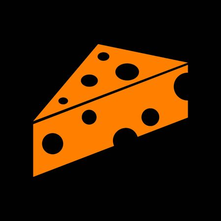Cheese Maasdam sign. Orange icon on black background. Old phosphor monitor. CRT.