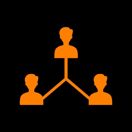 Social media marketing sign. Orange icon on black background. Old phosphor monitor. CRT.