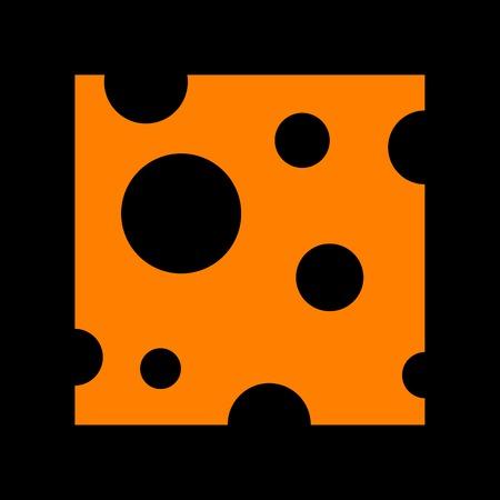 Cheese slice sign. Orange icon on black background. Old phosphor monitor. CRT.