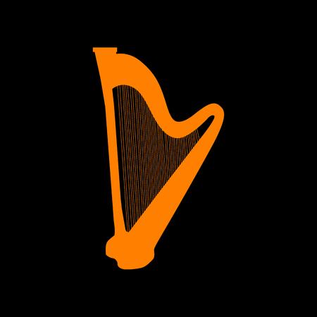 Musical instrument harp sign. Orange icon on black background. Old phosphor monitor. CRT.