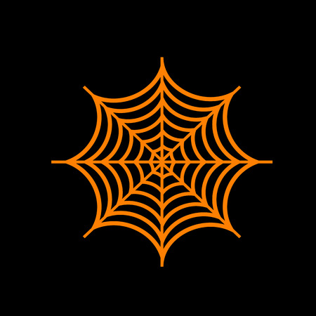 Spider on web illustration. Orange icon on black background. Old phosphor monitor. CRT.