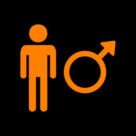 Male sign illustration. Orange icon on black background. Old phosphor monitor. CRT.