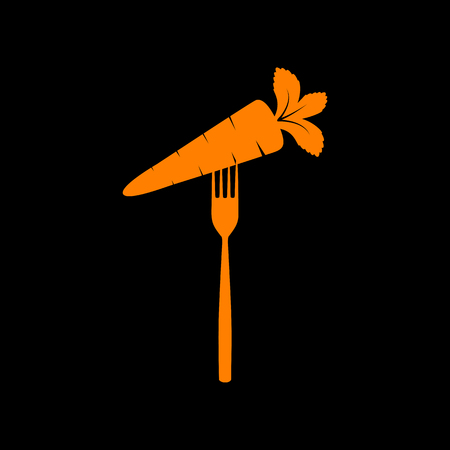 Vegetarian food sign illustration. Orange icon on black background. Old phosphor monitor. CRT. Imagens - 73035145
