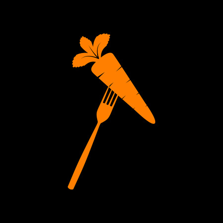 Vegetarian food sign illustration. Orange icon on black background. Old phosphor monitor. CRT. Imagens - 73035266