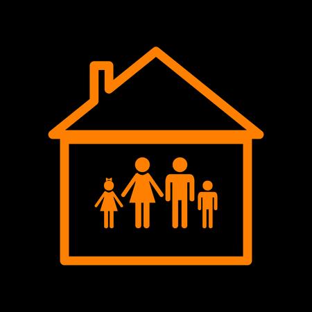 Family sign illustration. Orange icon on black background. Old phosphor monitor. CRT.