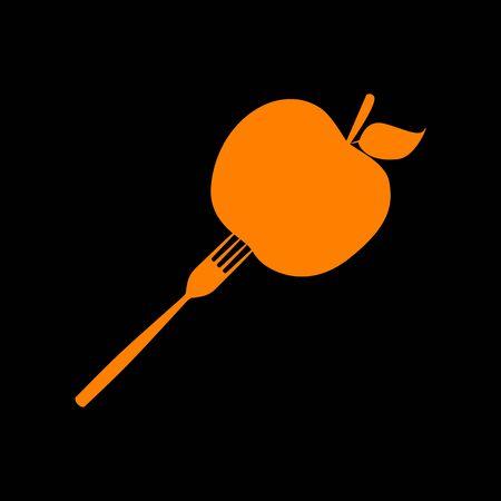 crt: Vegetarian food sign illustration. Orange icon on black background. Old phosphor monitor. CRT. Illustration