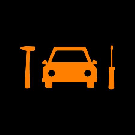 crt: Car tire repair service sign. Orange icon on black background. Old phosphor monitor. CRT.