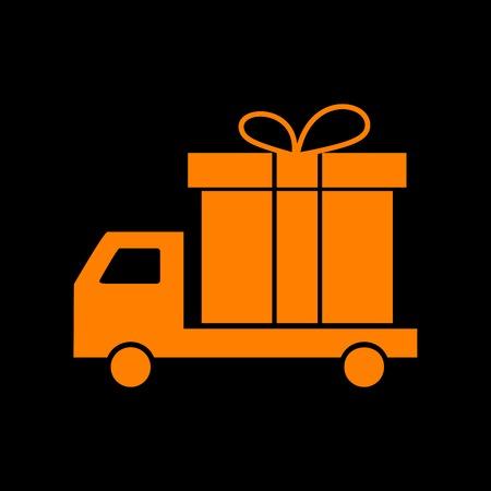 Delivery gift sign. Orange icon on black background. Old phosphor monitor. CRT. Imagens - 73035259