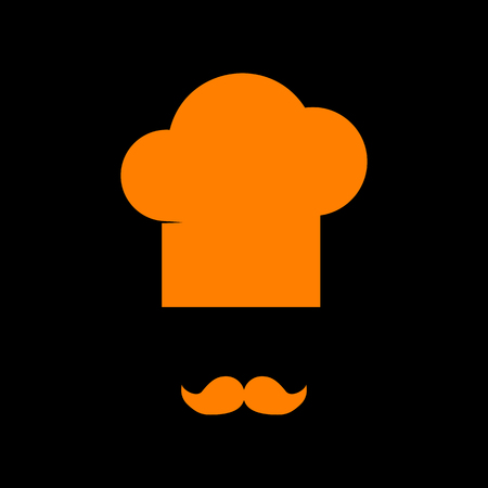 french culture: Chef hat and moustache sign. Orange icon on black background. Old phosphor monitor. CRT. Illustration
