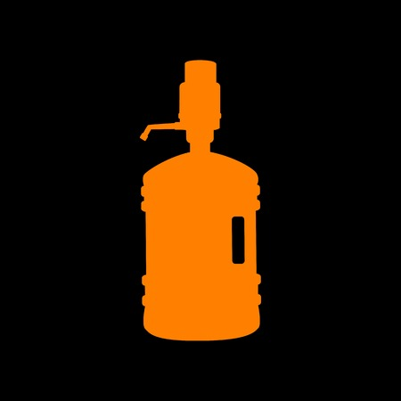 purified: Plastic bottle silhouette with water and siphon. Orange icon on black background. Old phosphor monitor. CRT.