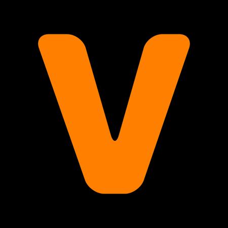 Letter V sign design template element. Orange icon on black background. Old phosphor monitor. CRT. Illustration
